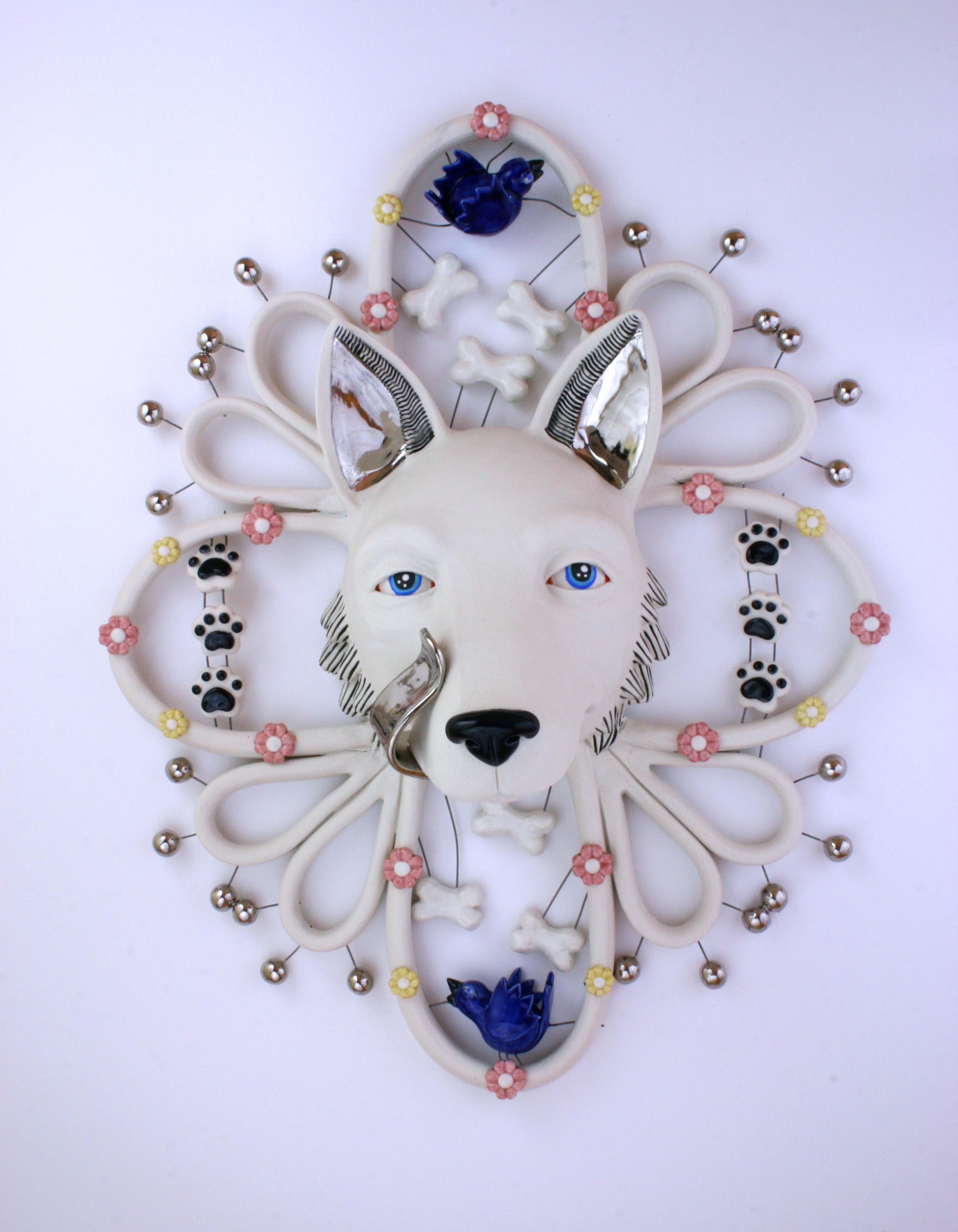 SILVER TONGUED WOLF - porcelain ceramic sculpture of wolf, bones, birds, flowers