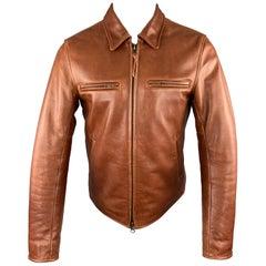 TAYLOR STITCH X GOLDEN BEAR Size M Whiskey Leather Zip Jacket