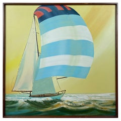 "Large and Dynamic Untitled Sailboat Painting, Signed ""Taylor"", 1970s"