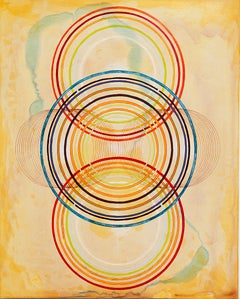 """Tayo Heuser, Accretion Disk, 2016, ink on wood panel, 18"""" x 14"""" x .75"""""""