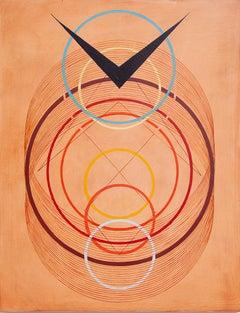 Tayo Heuser, Arrival, 2016, ink on wood panel, Meditative, Abstract Geometric