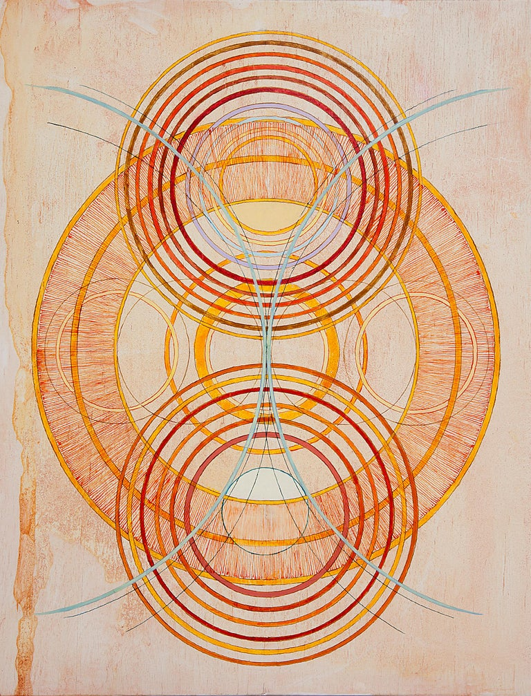 Tayo Heuser, Precession, 2016, ink on wood panel, Meditative, Geometric Abstract - Suprematist Painting by Tayo Heuser