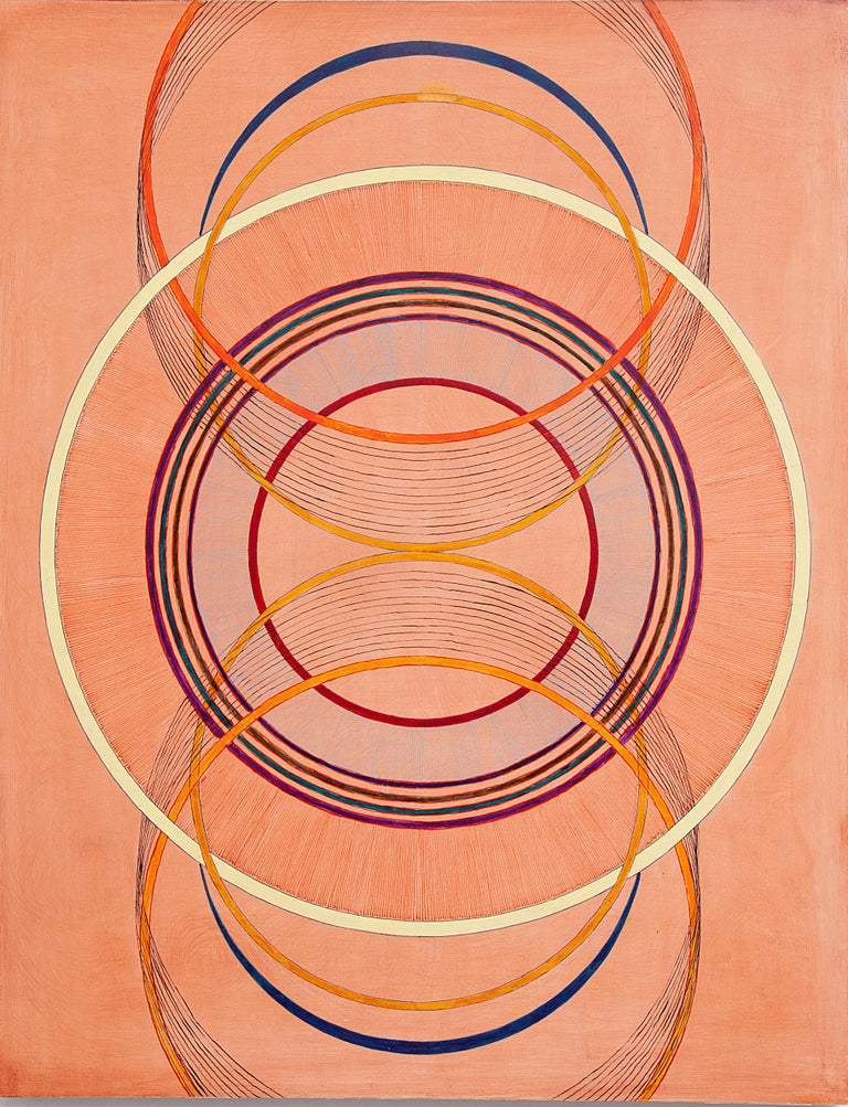 Tayo Heuser, Precession, 2016, ink on wood panel, Meditative, Geometric Abstract - Beige Abstract Painting by Tayo Heuser