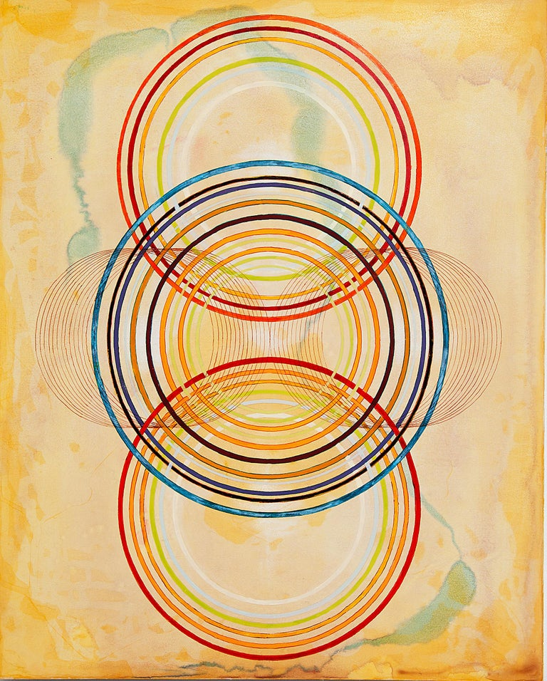 By developing a geometry between line and the spaces in between in their work, the abstract paintings of Tayo Heuser create a point of departure for the mind into a spiritual consciousness.  The viewer is invited into experiencing this shared