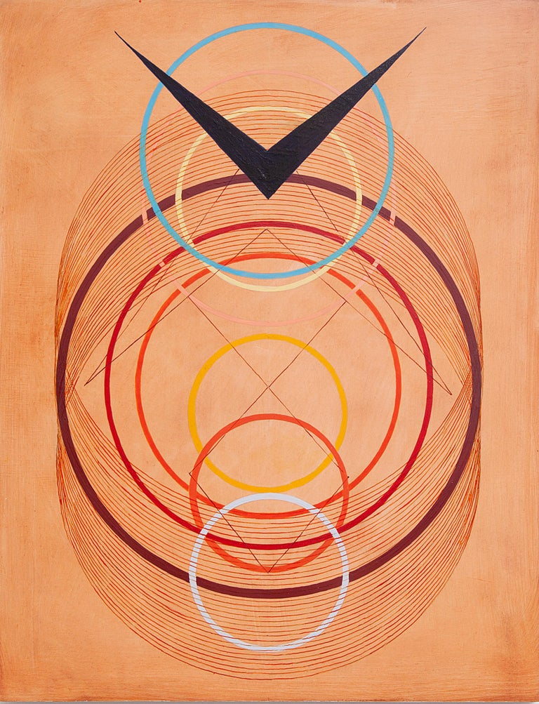 Tayo Heuser, Precession, 2016, ink on wood panel, Meditative, Geometric Abstract For Sale 1