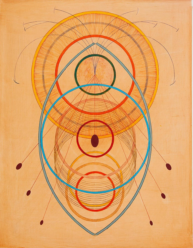 Tayo Heuser, Precession, 2016, ink on wood panel, Meditative, Geometric Abstract For Sale 2