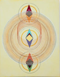 Tayo Heuser, Precession, 2016, ink on wood panel, Meditative, Geometric Abstract