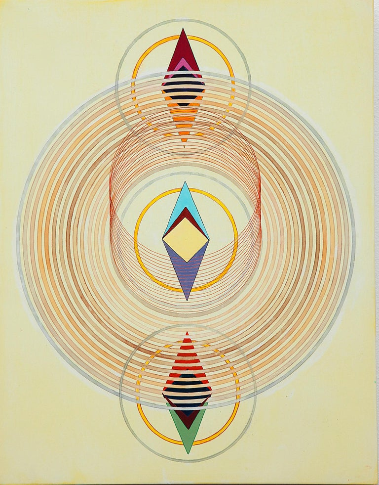 Tayo Heuser, Precession, 2016, ink on wood panel, Meditative, Geometric Abstract - Painting by Tayo Heuser