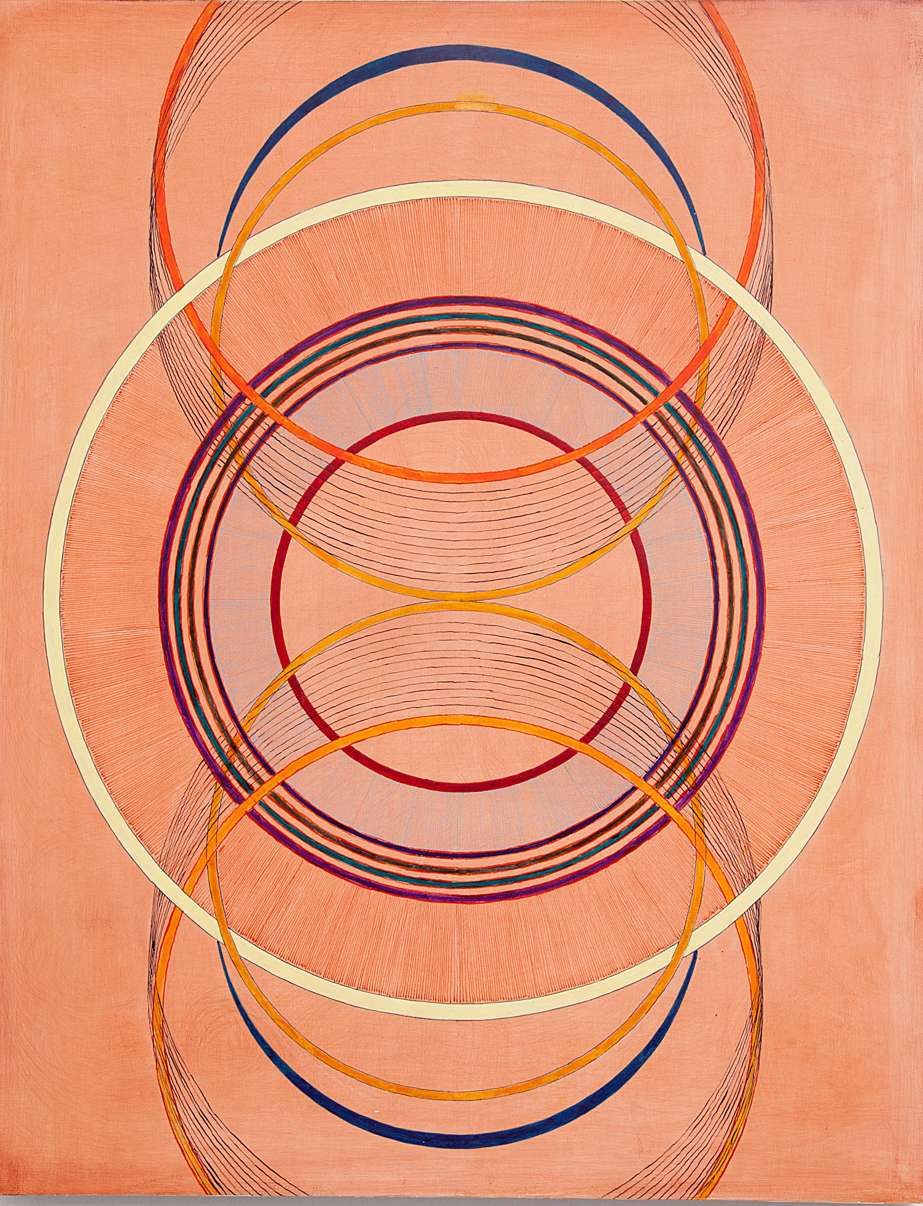 Tayo Heuser, Touch, 2016, ink on wood panel, Geometric Abstraction, Meditative