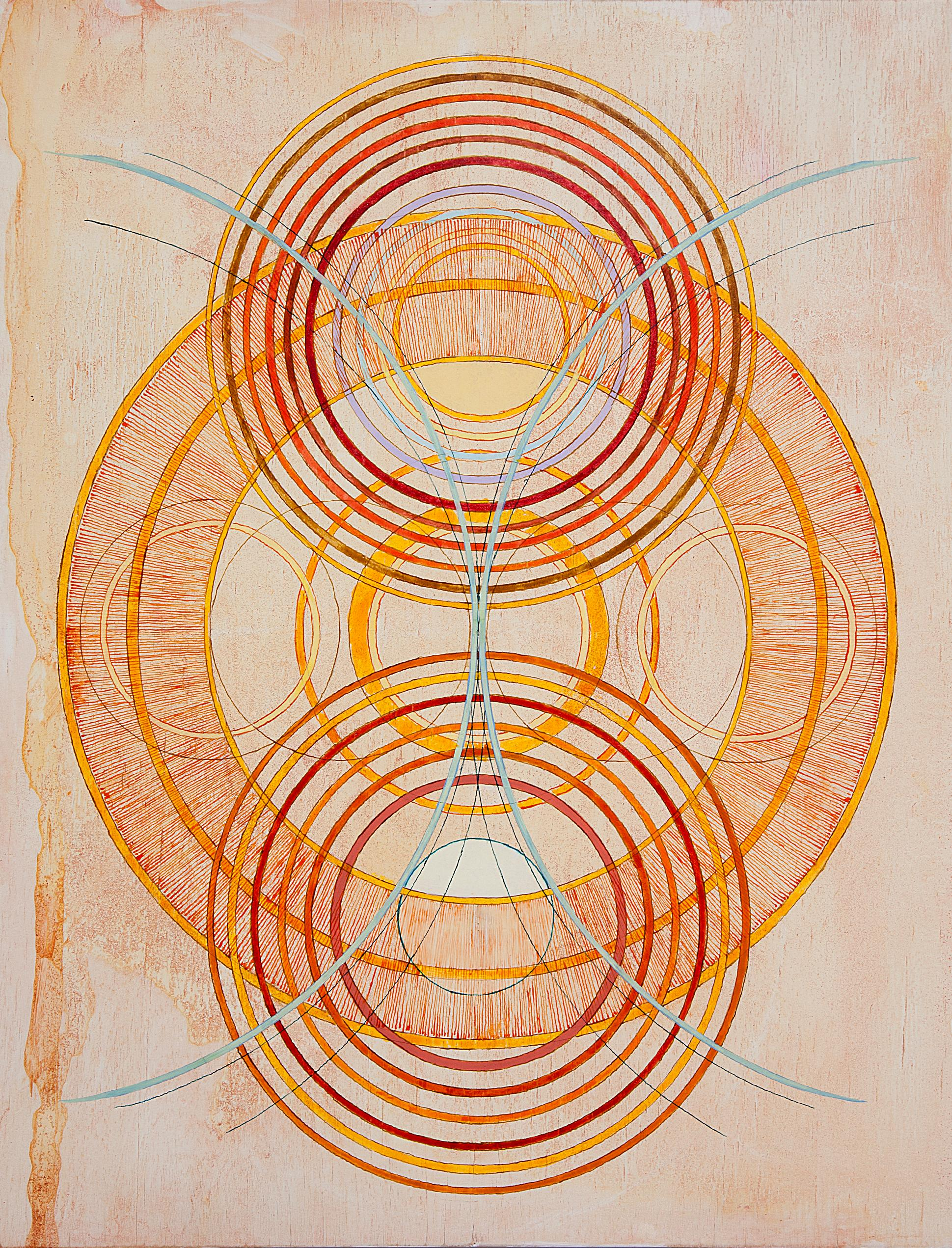 Tayo Heuser, Transverse Wave, 2016, ink on wood, Geometric Abstraction, Meditate