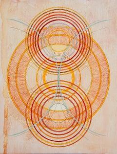 "Tayo Heuser, Transverse Wave, 2016, ink on wood panel, 18"" x 14"" x .75"""