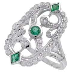 TB Exclusive Emerald and Diamond Art Deco Style Ring