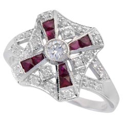 TB Exclusive Ruby and Diamond Art Deco Style Ring
