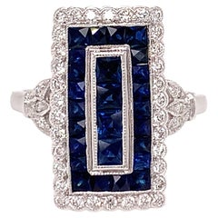 TB Exclusive Sapphire and Diamond Art Deco Style Ring