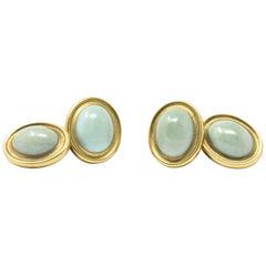 T.B. Starr Art Nouveau Turquoise 18 Karat Gold Men's Cufflinks