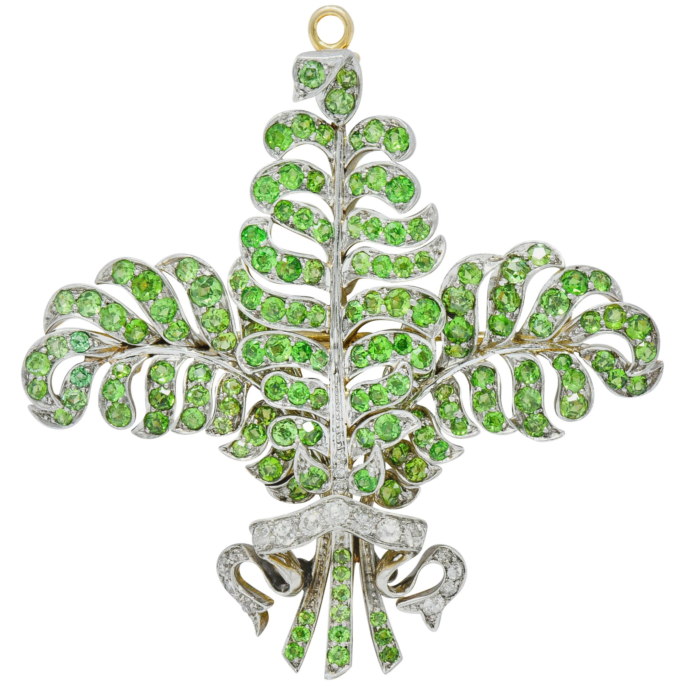 T.B. Starr Demantoid Garnet Diamond Platinum 18 Karat Gold Edwardian Pendant Pin