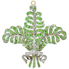 T.B. Starr Demantoid Garnet Diamond Platinum 18 Karat Gold Edwardian Pendant Pin