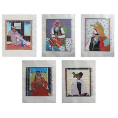 Set of Five Woodcut Prints of Colorful Native American Portraits 44/200