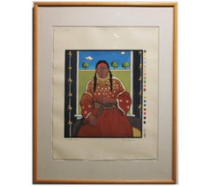 """Woman at the Window"" - Print 44/200 Native American Woodcut Portrait"