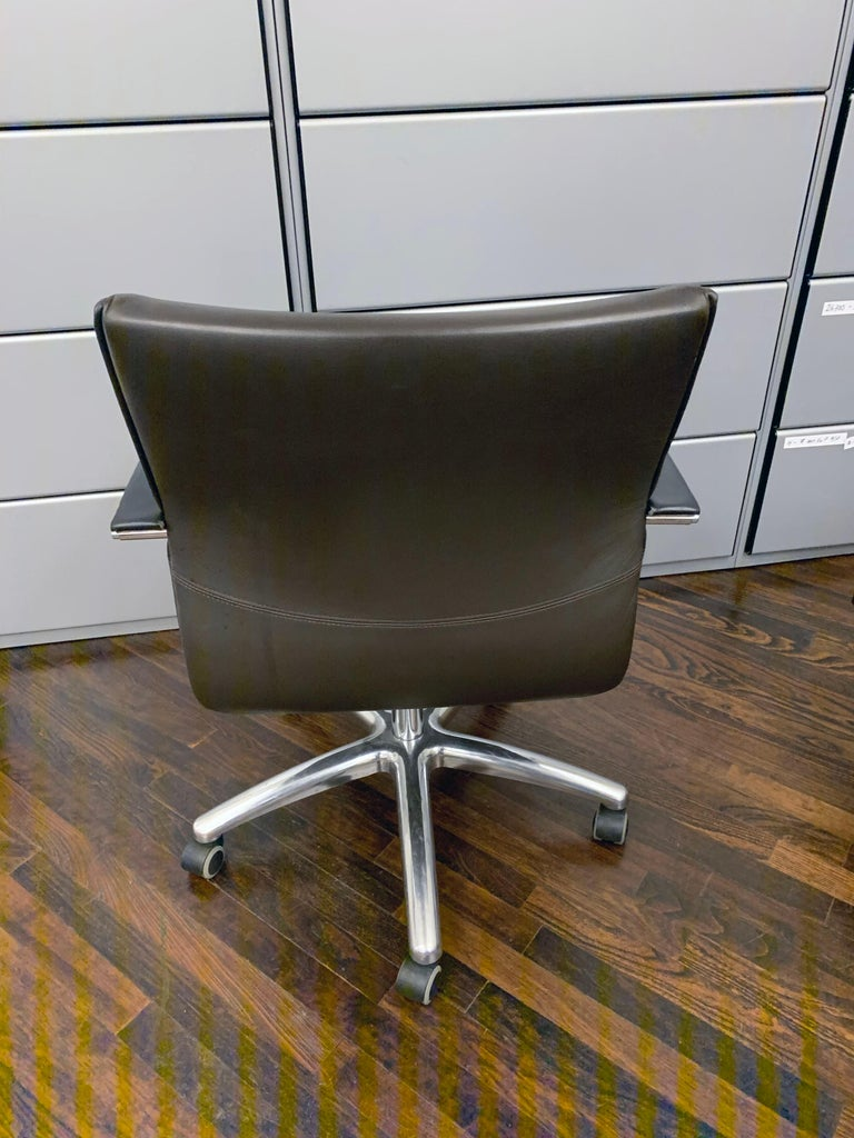 Contemporary TCC Low Back Brown Leather Office Chair For Sale
