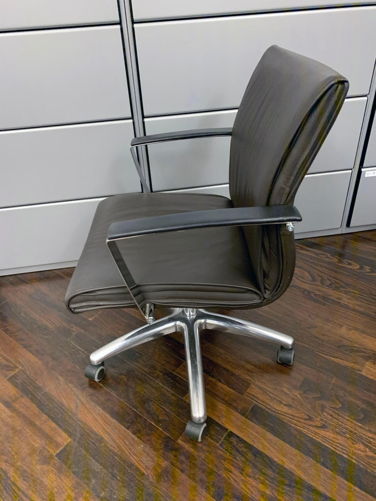 TCC Low Back Brown Leather Office Chair For Sale 1