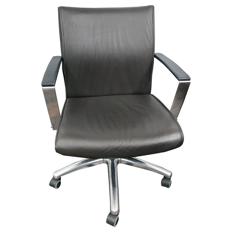 TCC Low Back Brown Leather Office Chair For Sale