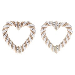 T&Co SS & Gold Rope Heart Studs