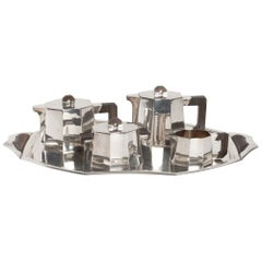 Tea and Coffee Set with Silver Cut Bands 1st Title and Macassar by Demarquay