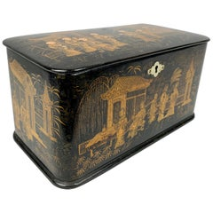 Chinoiserie Tea Caddy with Double Compartments-Black Lacquer on Papier Mâché