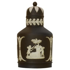 Tea Canister in Black Jasperware, Wedgwood, circa 1900