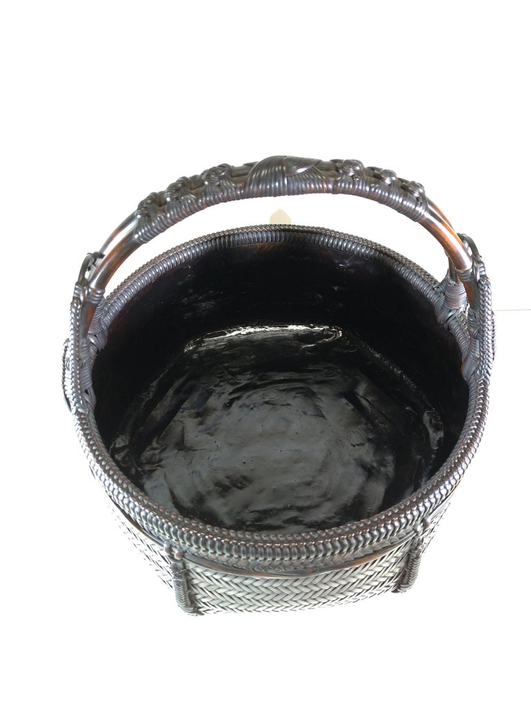 Folk Art Tea Ceremony Charcoal Basket, Japanese Sumi Kago For Sale