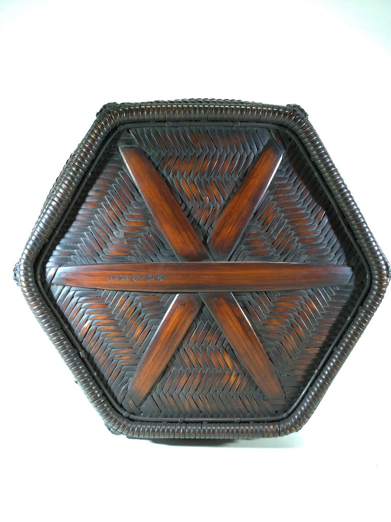 20th Century Tea Ceremony Charcoal Basket, Japanese Sumi Kago For Sale