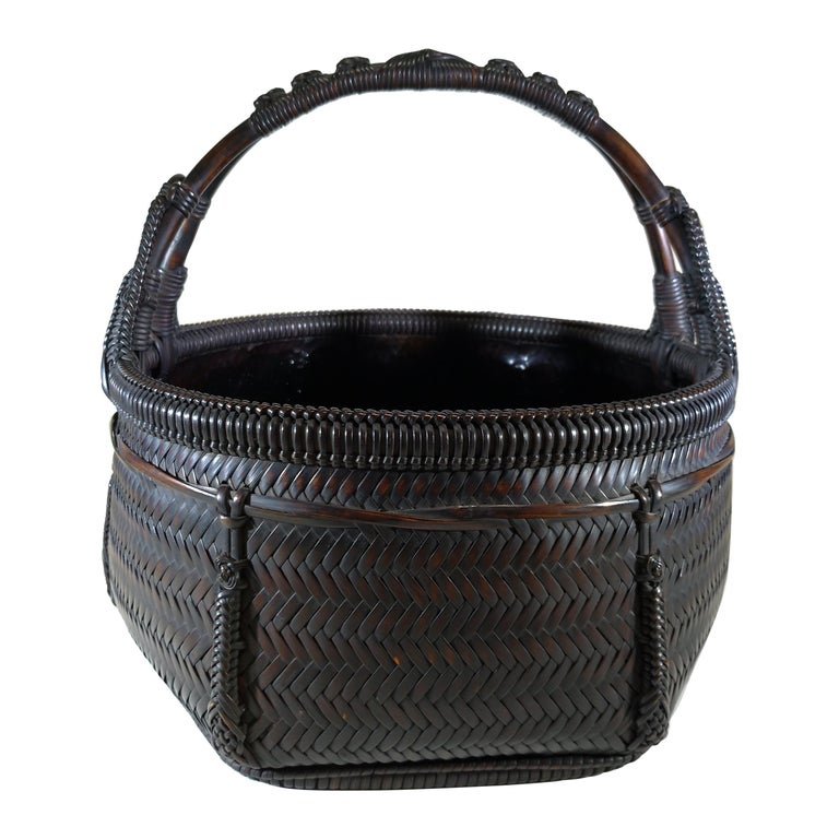 Tea Ceremony Charcoal Basket, Japanese Sumi Kago For Sale