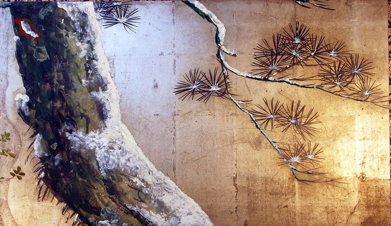 Pine tree with flowers under the last snowfall: Little Japanese screen from the early Meiji period painted with pigments on silver leaf.