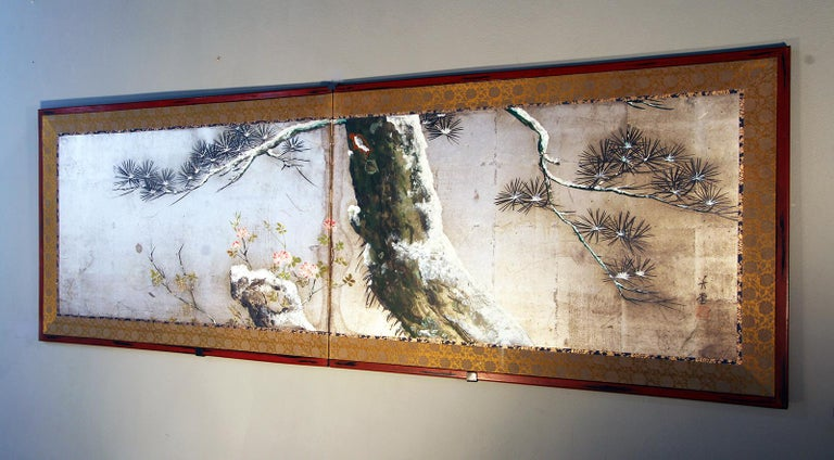 Paper Tea Ceremony Meiji Period Japanese Folding Screen Two Panels Silver Leaf