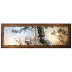 Tea Ceremony Meiji Period Japanese Folding Screen Two Panels Silver Leaf