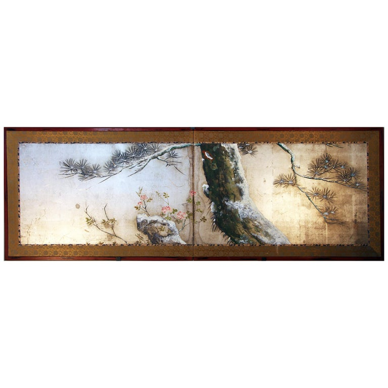 Tea Ceremony Meiji Period Japanese Folding Screen Two Panels Silver Leaf