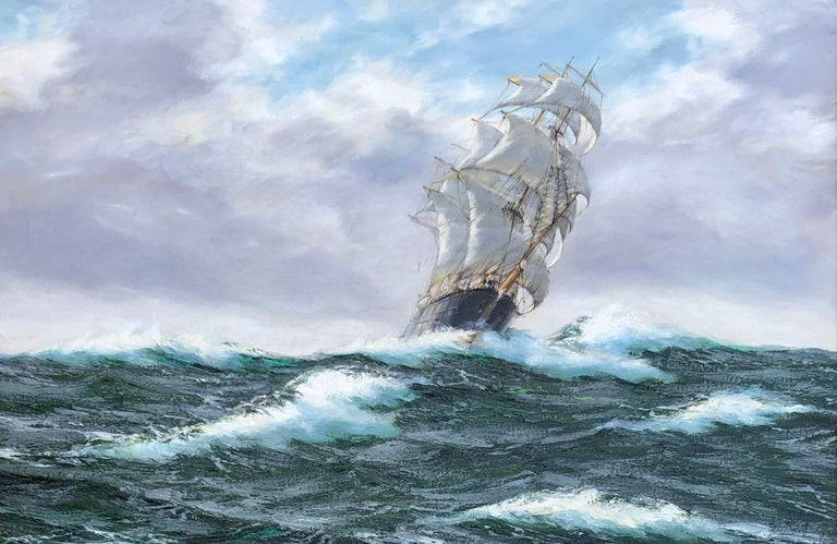 The tea clipper silver eagle oil on canvas by British artist Henry Scott. Painting measures: 24