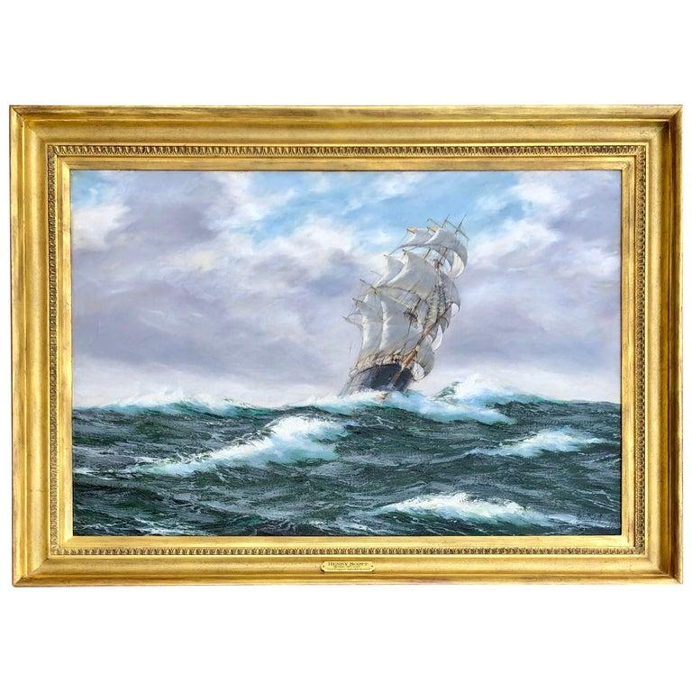 """""""Tea Clipper In High Seas"""" by Henry Scott"""