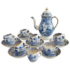 Tea Coffee Service Rathbone and Miles Mason, Pagoda Blue and White, 1810-1815