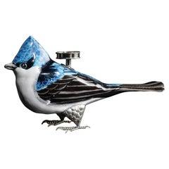 Tea Light Candle Holder Ceramic Bird and White Metal by Estudio Guerrero