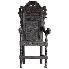 Tea Plantation Folk-Art Carved Chair, circa 1890