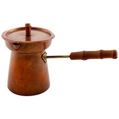 Tea Pot Teapot, Copper Brass Bamboo, 1950s