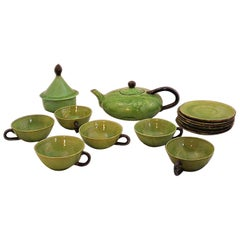 Tea Service by Dieulefit Provencal Studio Art Pottery Green Faience Vallauris
