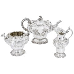 Tea Services in Rococo Style, London Sterling Sliver 925, Early 19th Century