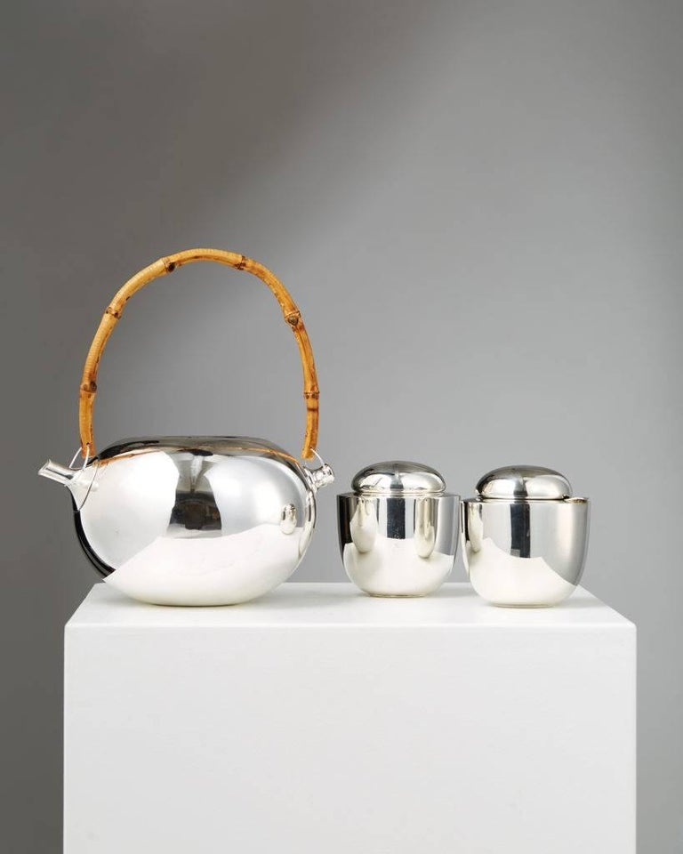 Tea set designed by Vivanna Torun Bülow-Hübe for Dansk International Designs,  Denmark, 1950s.  Silvered brass.  Teapot: H 11 cm/ 4 3/8