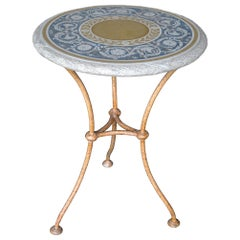 Blue side Table Decorative Scagliola Art Inlay top metal base Rusty Yellow color