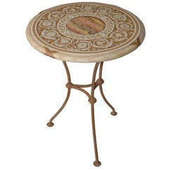 Round gueridon table handmade Scagliola Art Bas-Relief decoration  Iron Base