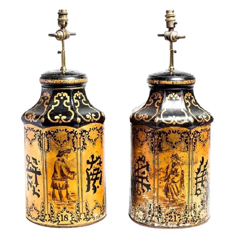 Antique Chinese Export Golden Tea Tin Lamp