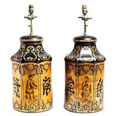 Antique Chinese Export Golden Tea Tin Lamps